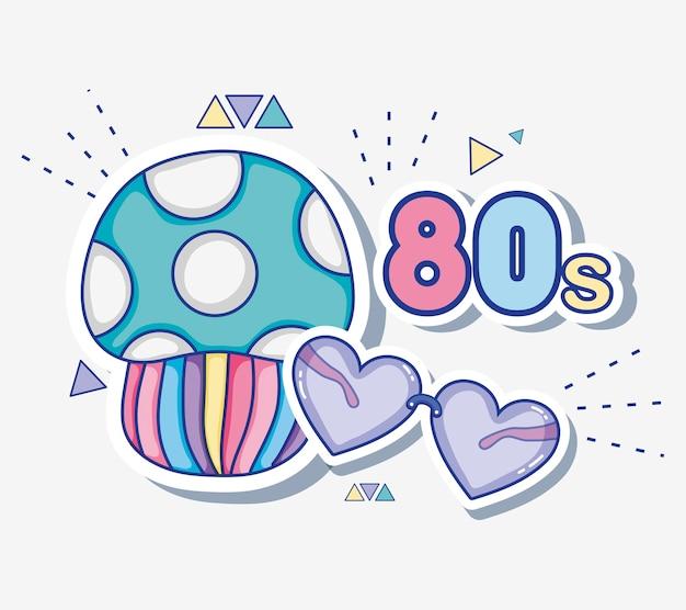 私は80年代の漫画のマッシュルーンとハートを愛しています
