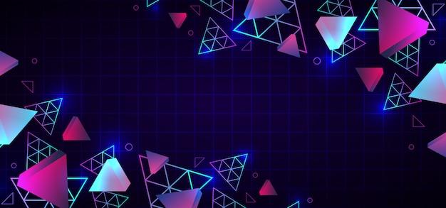 80年代の抽象的なトレンディな幾何学的な背景のネオン色