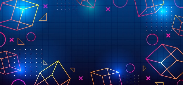 幾何学的な装飾メンフィストレンディな要素と80年代レトロな背景