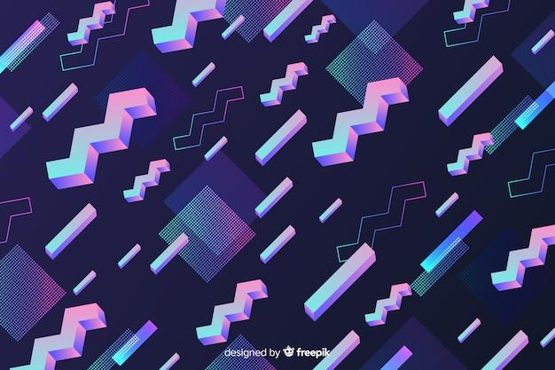 Геометрический красочный декоративный фон 80-х