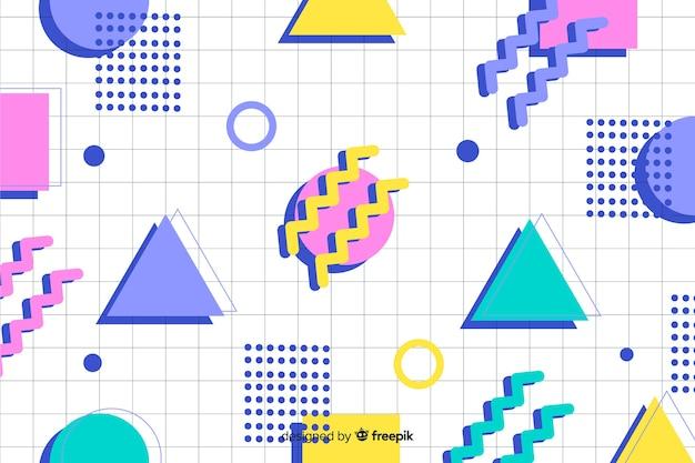 80年代の幾何学的なカラフルな装飾的な背景
