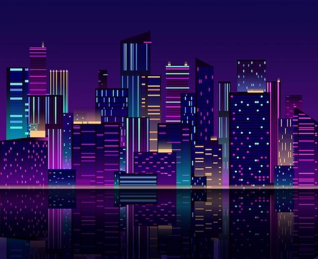 夜の街のスカイライン。ネオンの明かりで高層ビル。建物と都市の景観。 80年代レトロ
