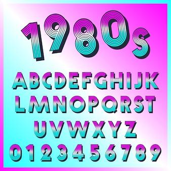 Шаблон шрифта 80-х годов. набор букв и цифр линий винтажного дизайна.