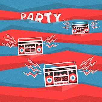 レトロな80年代のパーティーミュージックの抽象的なベクトルの背景