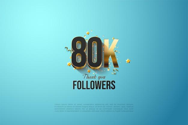 80k последователей с позолоченной иллюстрацией числа.