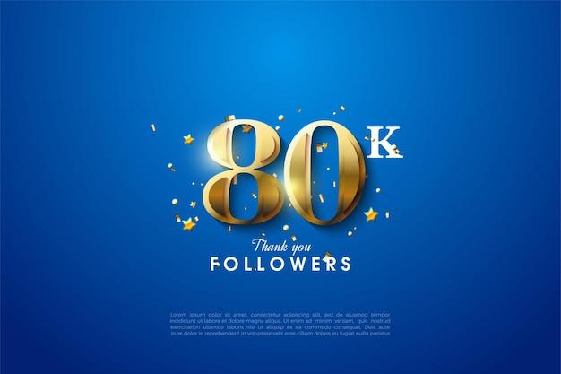 80k последователей с иллюстрацией золотого числа.