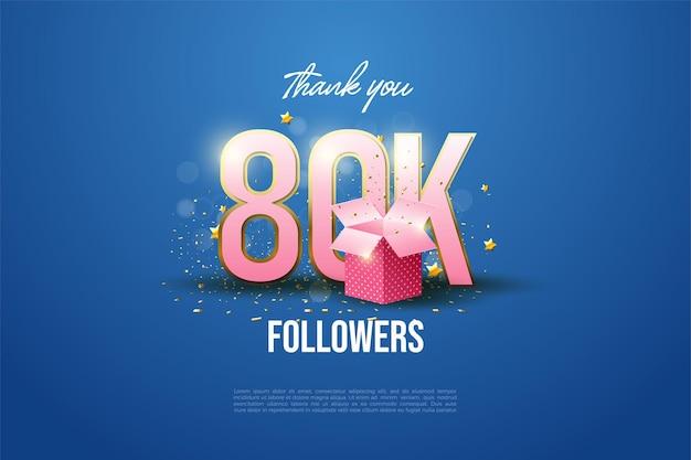 80k последователей с числами и иллюстрацией подарочной коробки.