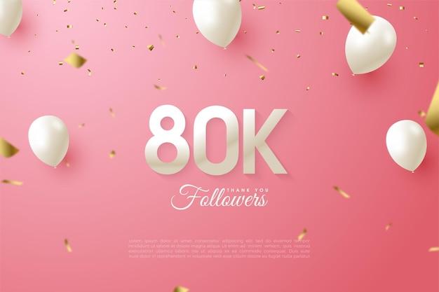 80 тысяч подписчиков с числами и белыми воздушными шарами.
