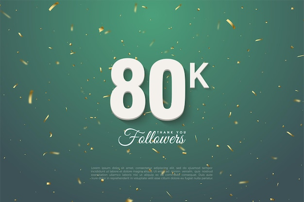 80k followers with numbers illustration on green leaf background.