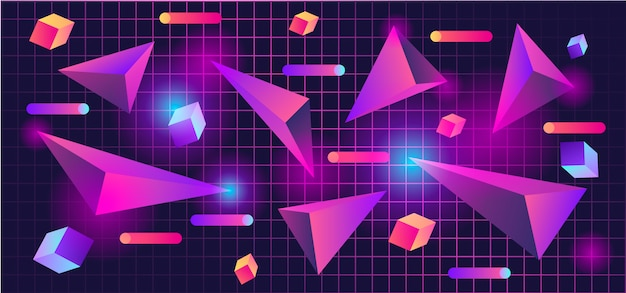 80s 3d geometric shapes background