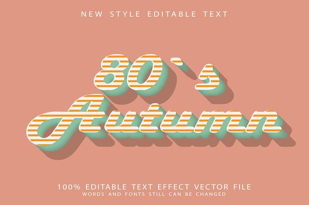 Осенний редактируемый текстовый эффект 80-х с тиснением в винтажном стиле