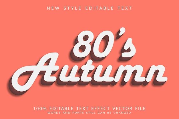Осенний редактируемый текстовый эффект 80-х годов с тиснением в винтажном стиле