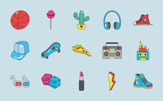 80s elements patches set icons