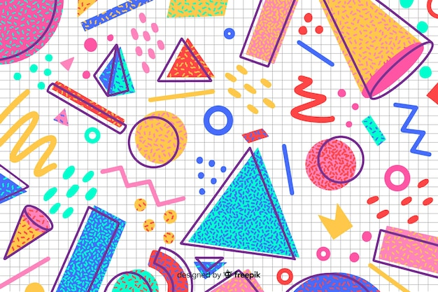 80s geometric background design with retro style
