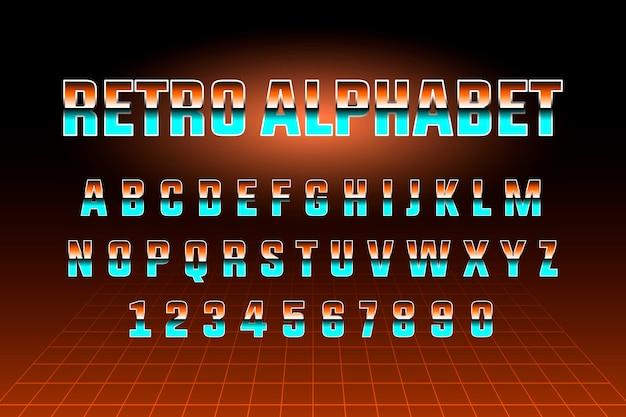 80s retro alphabet font template