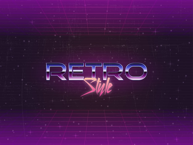 80s retro background editable text vector