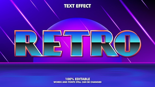 80年代のレトロな編集可能なテキスト効果