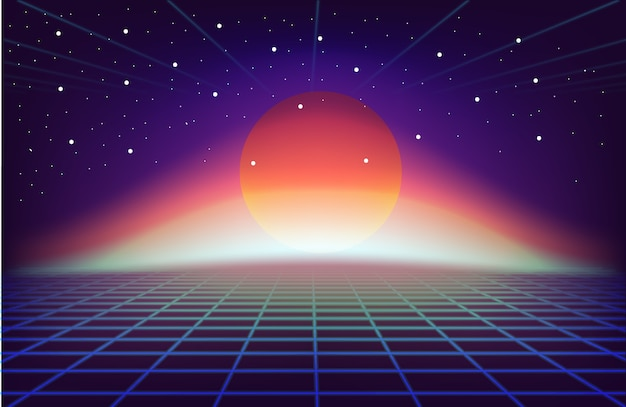 80s retro sci-fi background with sun