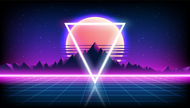 80年代レトロなサイエンスフィクションの背景と日の出または日没の夜空、星、ネオンゲームスタイルの無限の地平線メッシュの山の風景。未来的なイラスト