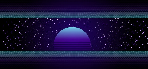 80s retro sci-fi banner with sunrise or sunset