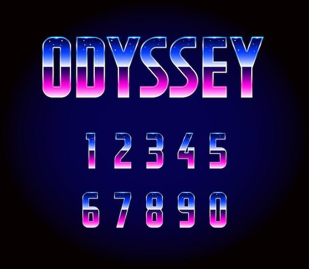 Ретро научно-фантастический шрифт 80-х