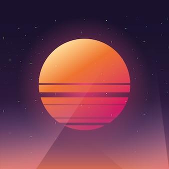 80sレトロスタイルのストライプの太陽の形。ミニマリズムアート