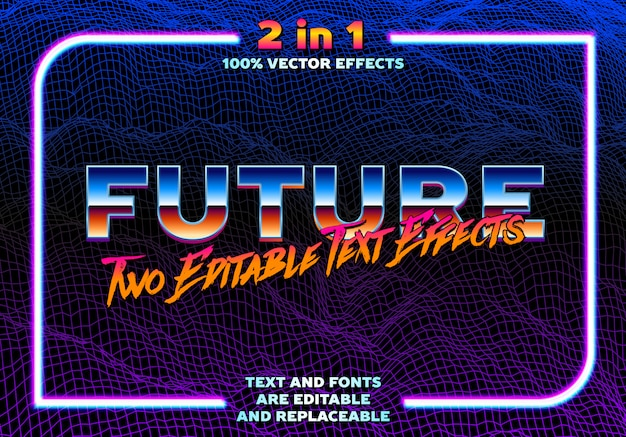 80s stlye synthwave or retrowave text effects template 2 in 1. chrome type with classic reflection and brushed lettering with neon frame. fully editable text effect with replaceable font