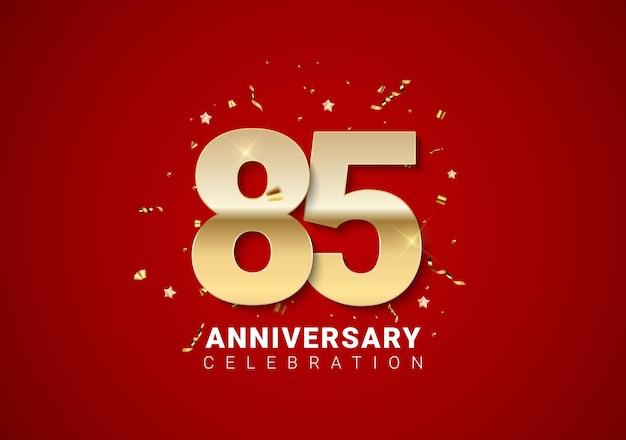 밝은 빨간색 휴일 배경에 황금 숫자, 색종이 조각, 별이 있는 85주년 배경. 벡터 일러스트 레이 션 eps10