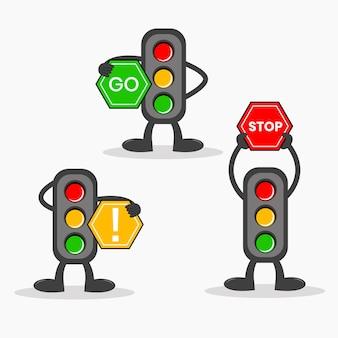 87. traffic light cartoon with traffic sign vector illustration