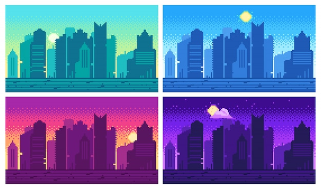 ピクセルアートの街並み。タウンストリート8ビットの都市景観、夜間と昼間のアーバンアーケードゲームの場所