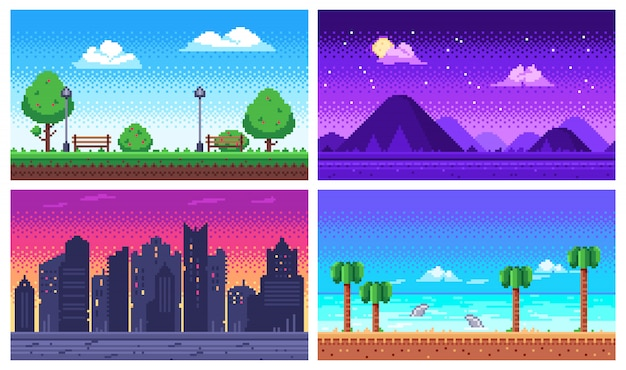 ピクセルアートの風景。夏の海のビーチ、8ビットの都市公園、ピクセルの街並みと高原の風景アーケードゲームの背景