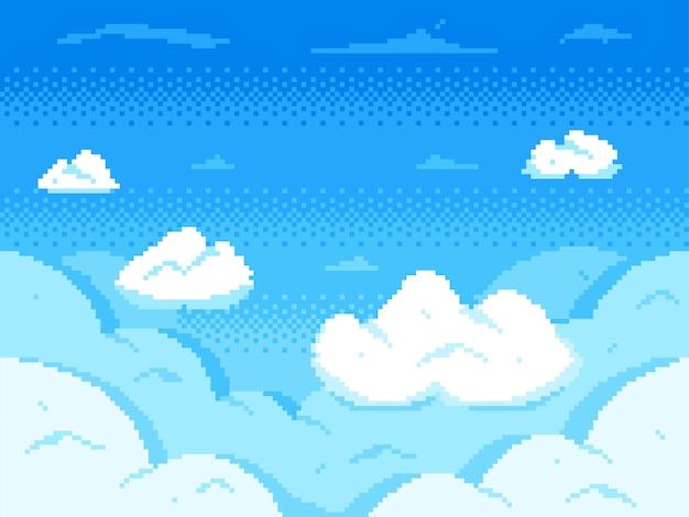 ピクセルアートの空。雲8ビットスカイライン、レトロなビデオゲームの雲の風景、曇っている背景