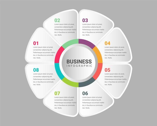 企業のプロのプレゼンテーション8ステップビジネスインフォグラフィックテンプレート