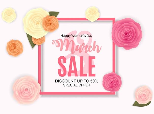 Женский день, 8 марта продажа баннера весенний дизайн с цветком.