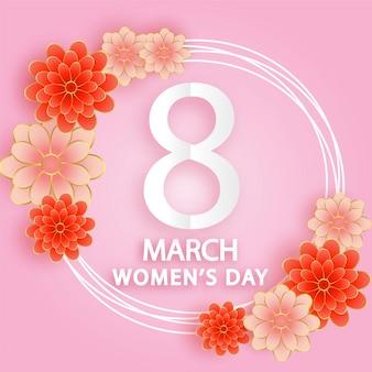 Международный женский день 8 марта в стиле бумажной резки.