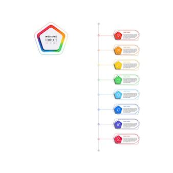五角形と白い背景の多角形要素を持つ垂直8ステップタイムラインインフォグラフィックテンプレート。細い線のマーケティングアイコンによる現代のビジネスプロセスの可視化。