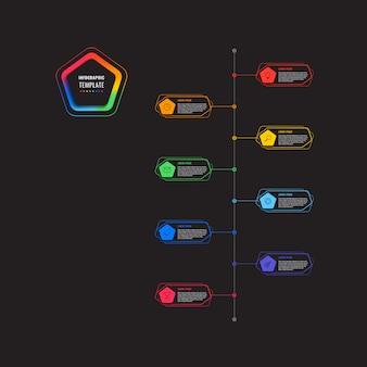 五角形と黒の背景に多角形の要素を持つ垂直8ステップタイムラインインフォグラフィックテンプレート。細い線のマーケティングアイコンによる現代のビジネスプロセスの可視化。