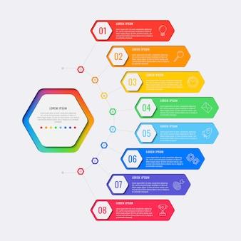 六角形の要素を持つシンプルな8つのステップデザインレイアウトインフォグラフィックテンプレート。ビジネスプロセス図