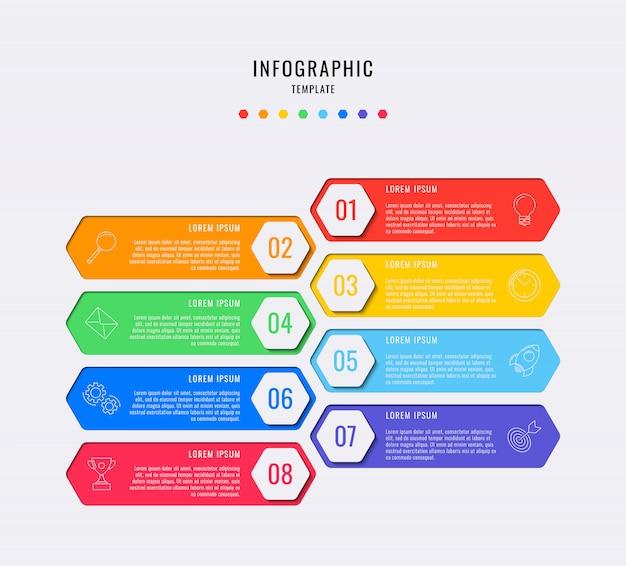 8つのステップ、オプション、部品、またはテキストボックスとマーケティングラインアイコンのプロセスを持つ六角形のインフォグラフィック要素