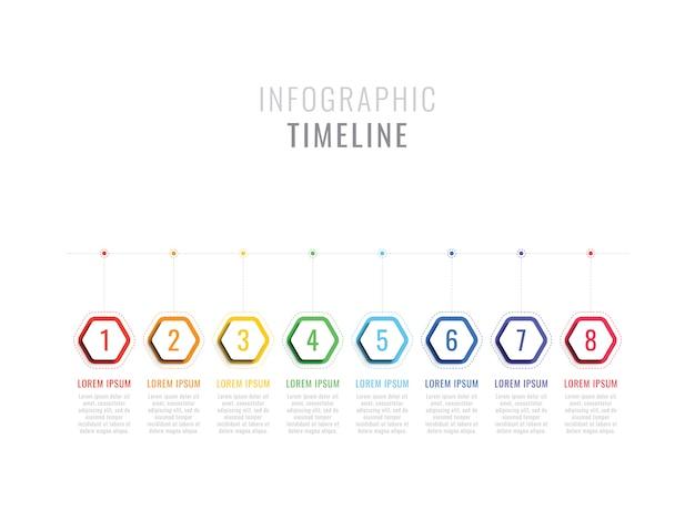 六角形の要素を持つ8つのステップインフォグラフィックタイムライン。オプション付きのビジネスプロセステンプレート