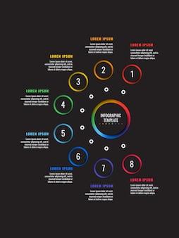 丸い紙で8つのステップのインフォグラフィックテンプレートは、黒の背景上の要素をカット