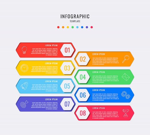 8つのステップ、オプション、部品、またはテキストボックスとマーケティングラインアイコンのあるプロセスを持つ六角形のインフォグラフィック要素。