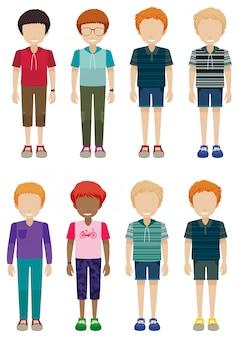 8人の顔が見えない若者