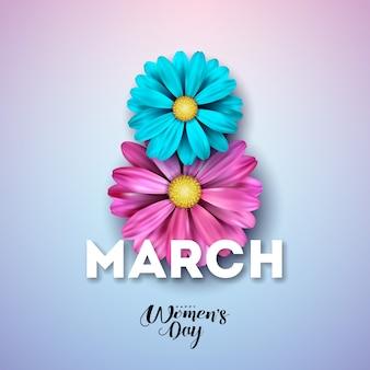 8 марта счастливый женский день цветочная открытка