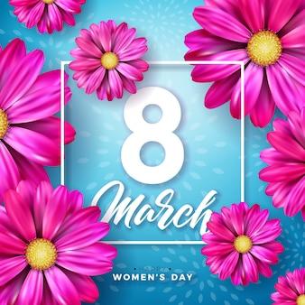 8 марта дизайн празднования женского дня с букетом цветов и книгопечатания
