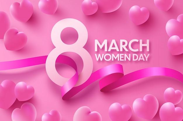 8 марта женская поздравительная открытка со сладкими сердечками и лентой на розовом
