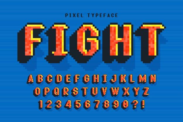 Пиксельный векторный дизайн шрифта, стилизованный под 8-битные игры.