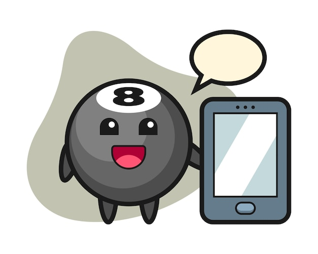 スマートフォンを保持している8ボールビリヤード漫画