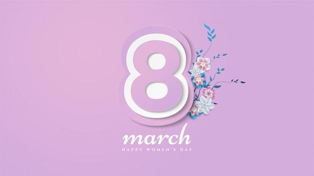 イラストの番号8と花の枝と葉を持つ女性の日の背景。