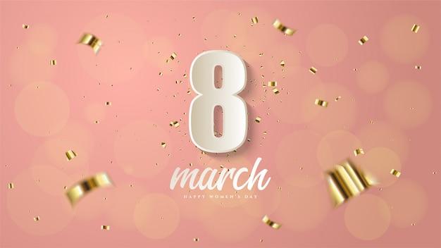 Женского дня с номером 8 в белом с кусочками золотой бумаги.